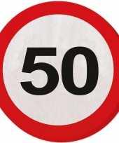 40x 50 jaar leeftijd themafeest servetten verkeersbord 33 cm ron