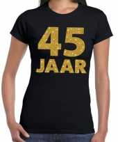 45 jaar goud glitter verjaardag jubileum kado shirt zwart dames