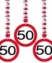50 jaar versiering stopbord 15x stuks