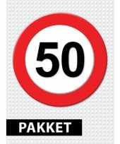 50 jarige verkeerbord decoratie pakket