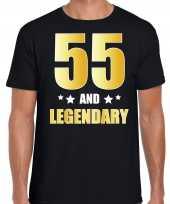 55 and legendary verjaardag cadeau t-shirt goud 55 jaar zwart voor heren