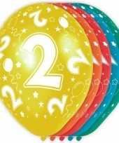 5x stuks 2 jaar thema versiering heliumballonnen 30 cm