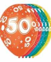 5x stuks 50 jaar thema versiering heliumballonnen 30 cm