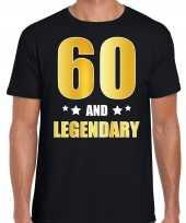 60 and legendary verjaardag cadeau t-shirt goud 60 jaar zwart voor heren