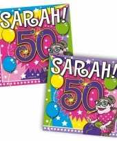 60x 50 jaar sarah leeftijd feest servetten 25 x 25 cm