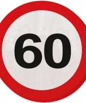 60x 60 jaar leeftijd themafeest servetten verkeersbord 33 cm ron