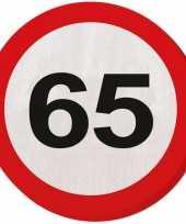 60x 65 jaar leeftijd themafeest servetten verkeersbord 33 cm ron