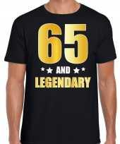 65 and legendary verjaardag cadeau t-shirt goud 65 jaar zwart voor heren