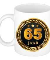 65 jaar cadeau mok beker medaille goud zwart voor verjaardag jubileum