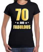 70 and fabulous verjaardag cadeau t shirt shirt goud 70 jaar zwart voor dames