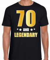 70 and legendary verjaardag cadeau t-shirt goud 70 jaar zwart voor heren
