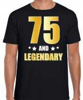 75 and legendary verjaardag cadeau t-shirt goud 75 jaar zwart voor heren