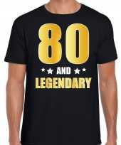 80 and legendary verjaardag cadeau t-shirt goud 80 jaar zwart voor heren