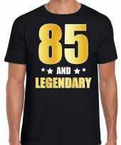 85 and legendary verjaardag cadeau t-shirt goud 85 jaar zwart voor heren