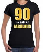 90 and fabulous verjaardag cadeau t shirt shirt goud 90 jaar zwart voor dames