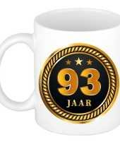 93 jaar cadeau mok beker medaille goud zwart voor verjaardag jubileum