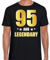 95 and legendary verjaardag cadeau t-shirt goud 95 jaar zwart voor heren