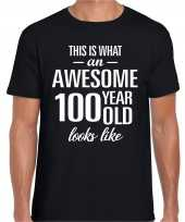 Awesome 100 year 100 jaar cadeau t-shirt zwart heren