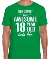 Awesome 18 year 18 jaar cadeau t-shirt groen heren