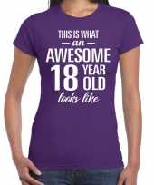 Awesome 18 year 18 jaar cadeau t-shirt paars dames