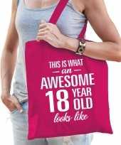 Awesome 18 year geweldig 18 jaar cadeau tas roze voor dames