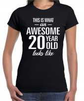 Awesome 20 year 20 jaar cadeau t-shirt zwart dames