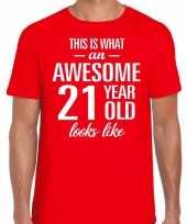 Awesome 21 year 21 jaar cadeau t-shirt rood heren
