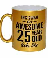 Awesome 25 year cadeau mok beker goud 330 ml