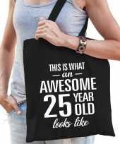 Awesome 25 year geweldig 25 jaar cadeau tas zwart voor dames