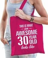 Awesome 30 year geweldig 30 jaar cadeau tas roze voor dames
