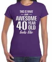 Awesome 40 year 40 jaar cadeau t-shirt paars dames