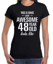 Awesome 48 year 48 jaar cadeau t-shirt zwart dames