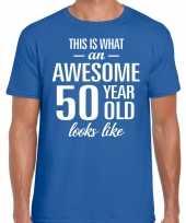 Awesome 50 year 50 jaar cadeau t-shirt blauw heren