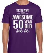 Awesome 50 year 50 jaar cadeau t-shirt paars heren