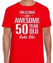 Awesome 50 year 50 jaar cadeau t-shirt rood heren