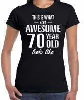 Awesome 70 year 70 jaar cadeau t shirt zwart dames