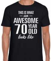 Awesome 70 year 70 jaar cadeau t shirt zwart heren