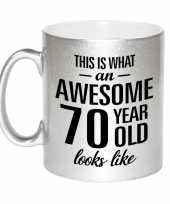 Awesome 70 year cadeau mok beker zilver 330 ml