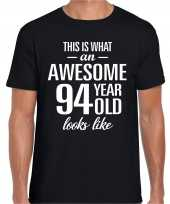 Awesome 94 year 94 jaar cadeau t-shirt zwart heren
