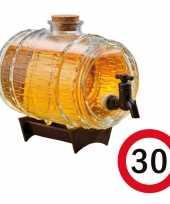 Cadeau 30 jaar man bier dispensers ton op standaard 24 cm met 30 jaar bierviltjes