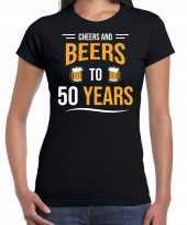 Cheers and beers 50 jaar verjaardag cadeau t-shirt zwart voor dames