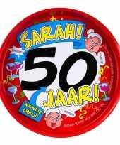 Feest metalen dienblad 50 jaar sarah 30 cm
