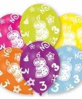 Feestversiering gekleurde ballonnen 3 jaar 24x stuks