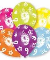 Feestversiering gekleurde ballonnen 9 jaar 6 stuks