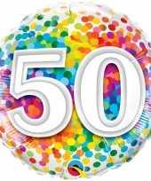 Folie ballon 50 jaar confettiprint 45 cm met helium gevuld