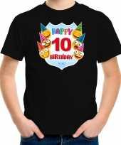 Happy birthday 10e verjaardag t-shirt shirt 10 jaar met emoticons zwart voor kinderen