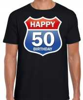 Happy birthday 50 jaar abraham verjaardag t-shirt route bordje zwart voor heren