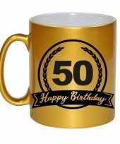 Happy birthday 50 years gouden cadeau mok beker met wimpel 330 ml