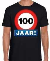 Stopbord 100 jaar verjaardag t-shirt zwart voor heren