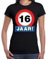 Stopbord 16 jaar verjaardag t-shirt zwart voor dames